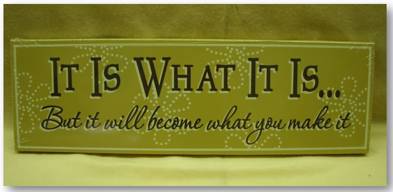 It is what it is2 It Is What It Is…But It Will Become What You Make it