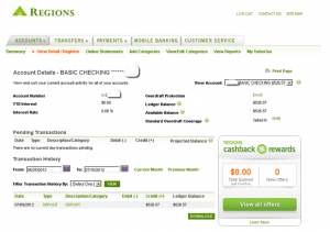 Regions Bank online screenshot 300x211 Under Banked: My Personal Story