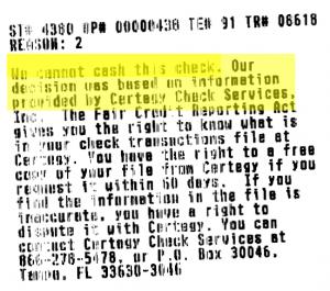 Walmart Certegy Decline Slip1 300x265 Under Banked: My Personal Story