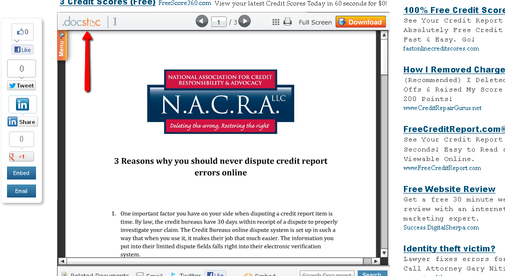 NACRA docstoc Report4 3 Reasons Why You Should Never Dispute Credit Errors Online
