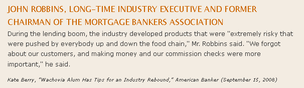 Chairman MBA Comments Ridiculous Report of the Year: Financial Literacy and Subprime Mortgage Delinquency Study