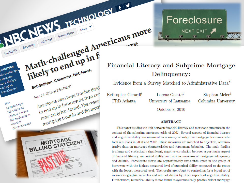 New Study Blog Post Image Ridiculous Report of the Year: Financial Literacy and Subprime Mortgage Delinquency Study